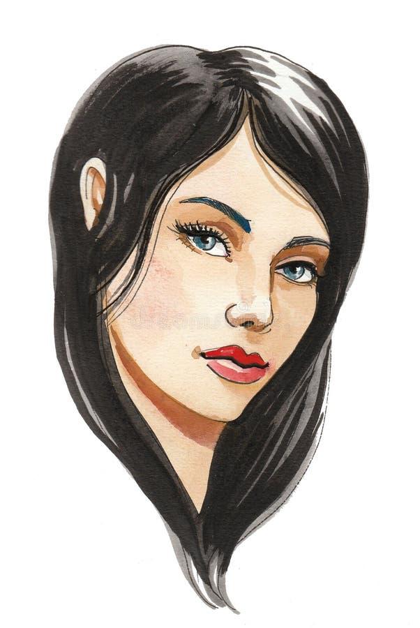 Beautiful brunette woman stock illustration