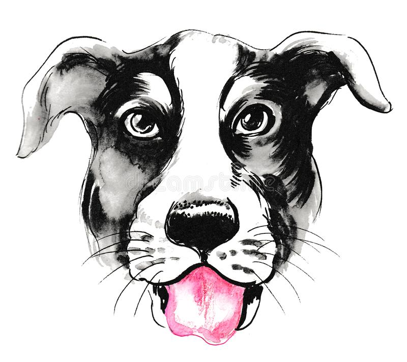 Dog with a pink tongue stock illustration
