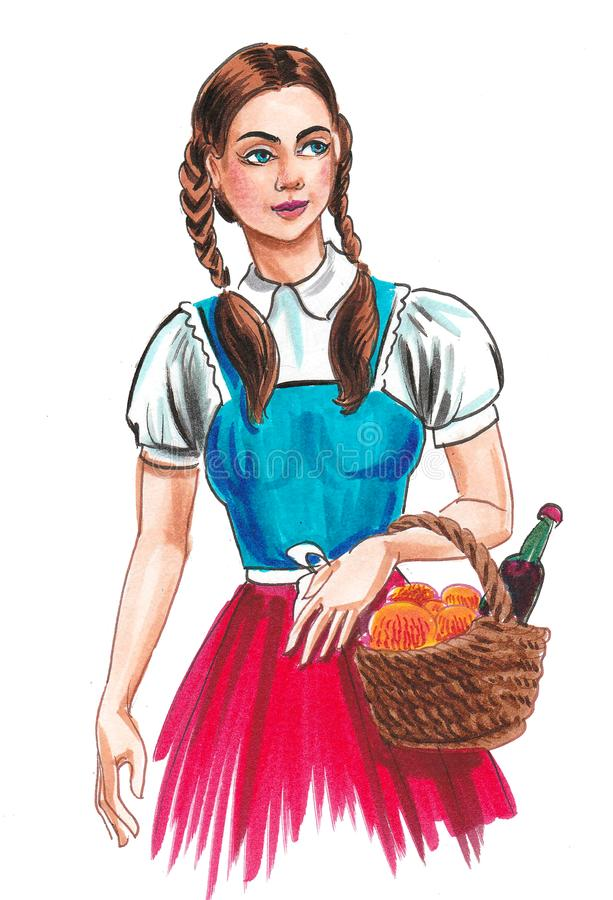 Pretty girl with a food basket royalty free illustration