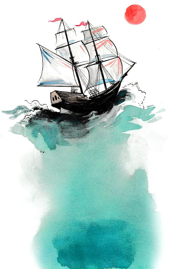 Sailing ship and sun. Ink and watercolor illustration of an old sailing ship in the sea and red sun royalty free illustration