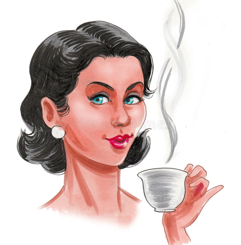 Pretty woman and tea stock illustration
