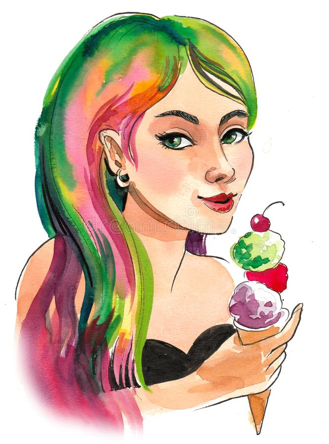 Girl with an ice cream stock illustration