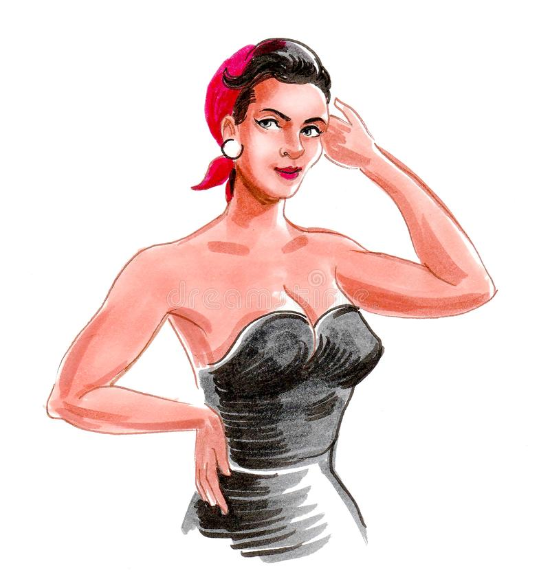 Pretty woman and black dress stock illustration