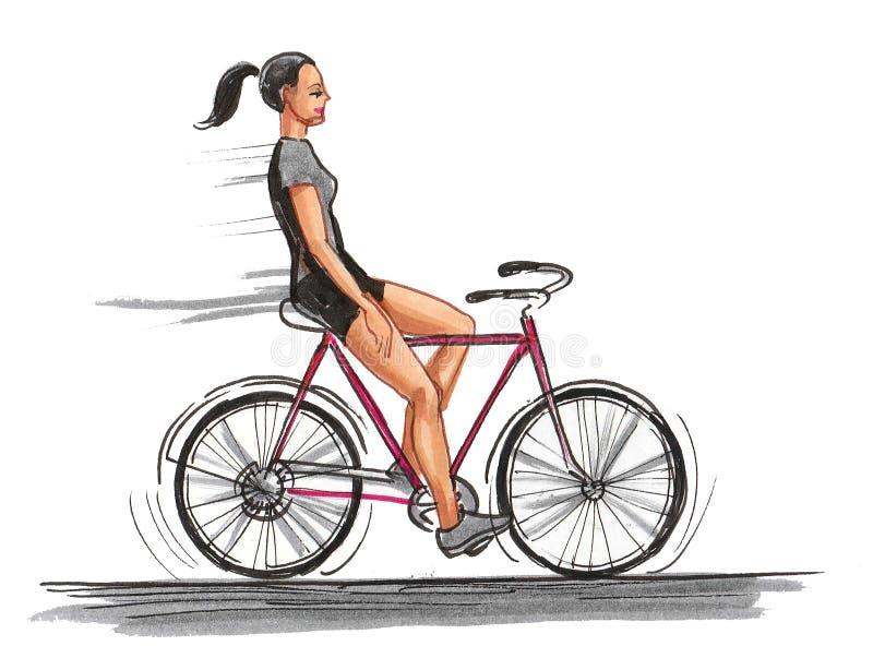 Girl on bike stock photography