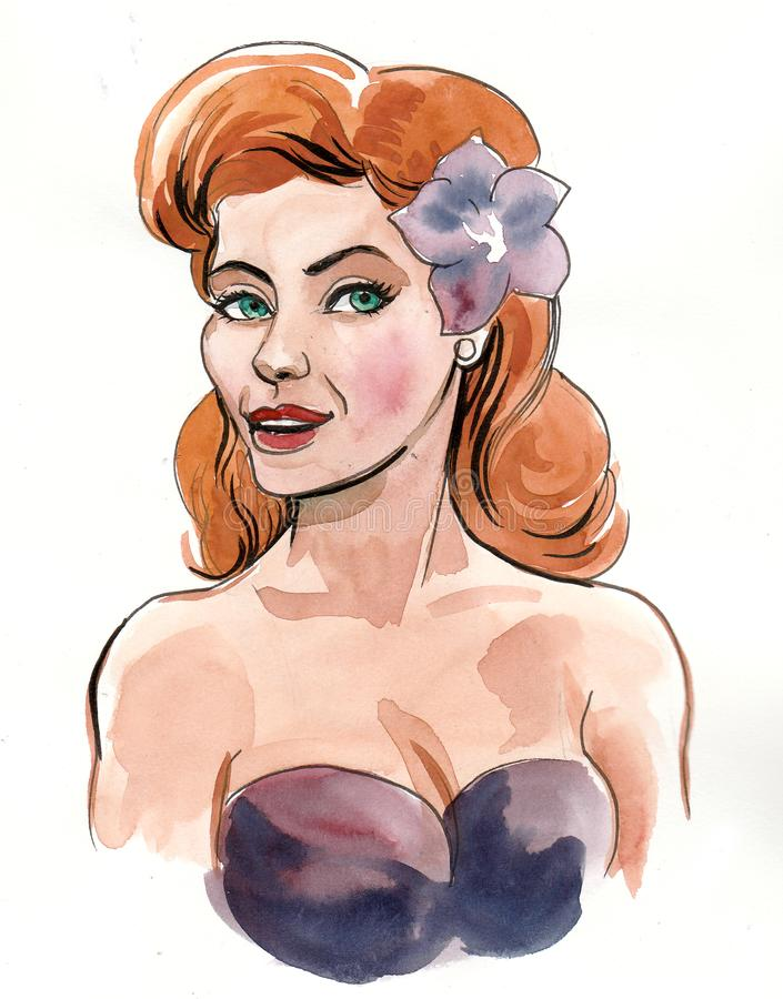 Woman with a purple flower stock illustration