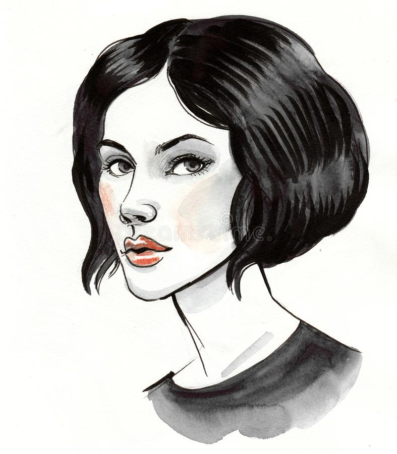 Beautiful brunette woman vector illustration