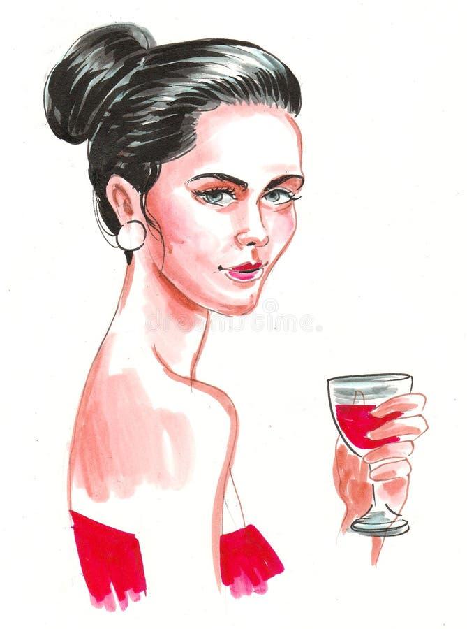 Pretty woman and wine vector illustration