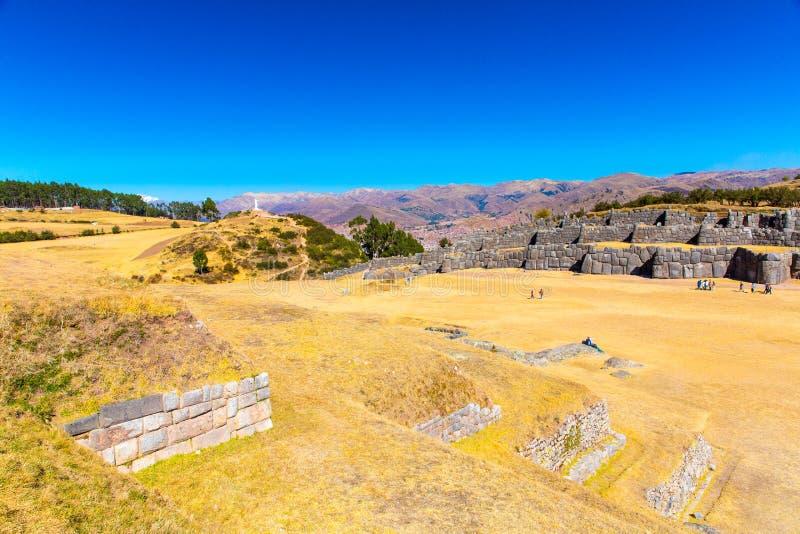 Inka ściana w SAQSAYWAMAN, Peru, Ameryka Południowa. Przykład poligonalny kamieniarstwo. Sławny 32 kątów kamień zdjęcie royalty free