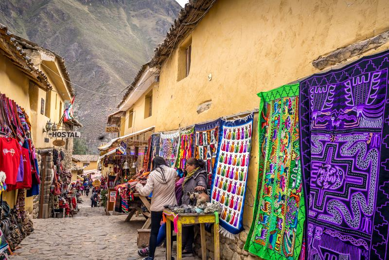 Inka miejscowi sprzedaje produkty zdjęcie stock