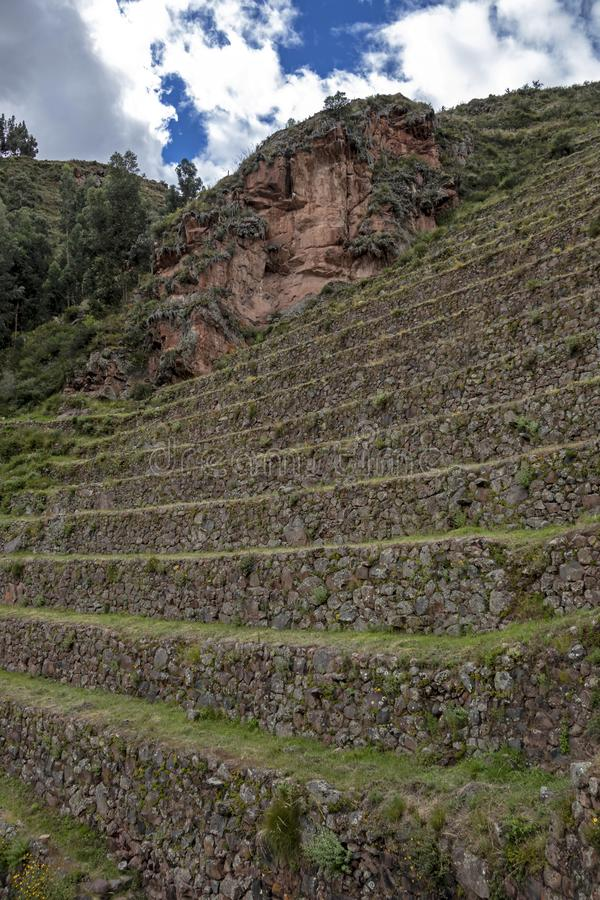 View at the agriculture Inca terraces used for plants farming, Archeological Park in Sacred Valley, Pisac near Cusco, Peru stock images