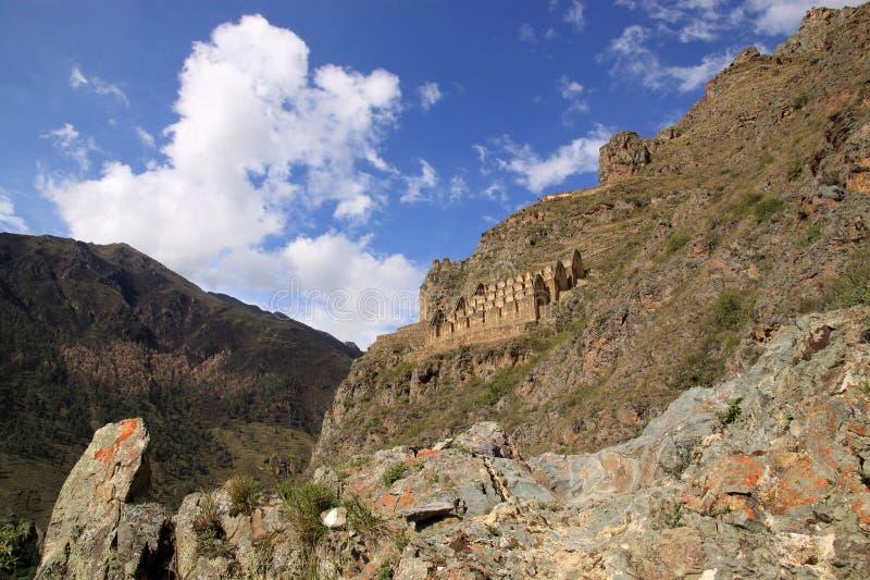 Inka Sorehouses, Peru. Pinkuylluna zdjęcie stock