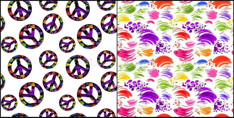 Inkasowa abstrakcjonistyczna bezszwowa biała tapeta z kolorowymi muśnięć uderzeniami i hipisa pokoju symbol z kolorowy pochlapany ilustracji