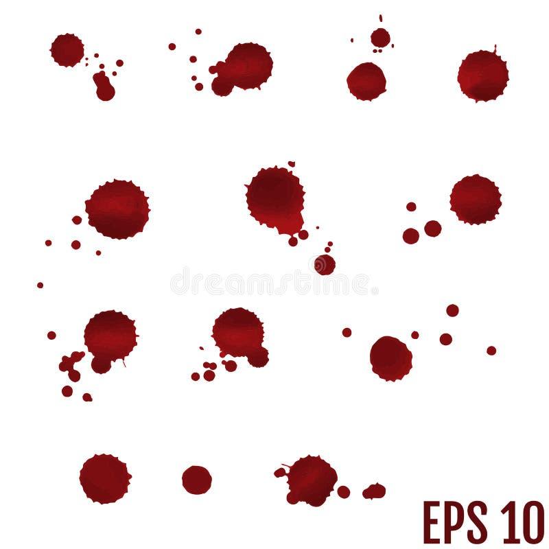 Inkasowa różnorodna krew lub farba splatters, Halloweenowy pojęcie, wewnątrz ilustracji