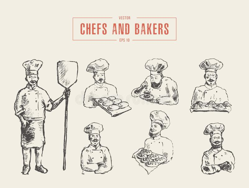 Inkasowa ręka rysujący szefów kuchni piekarzów wektorowy nakreślenie ilustracji