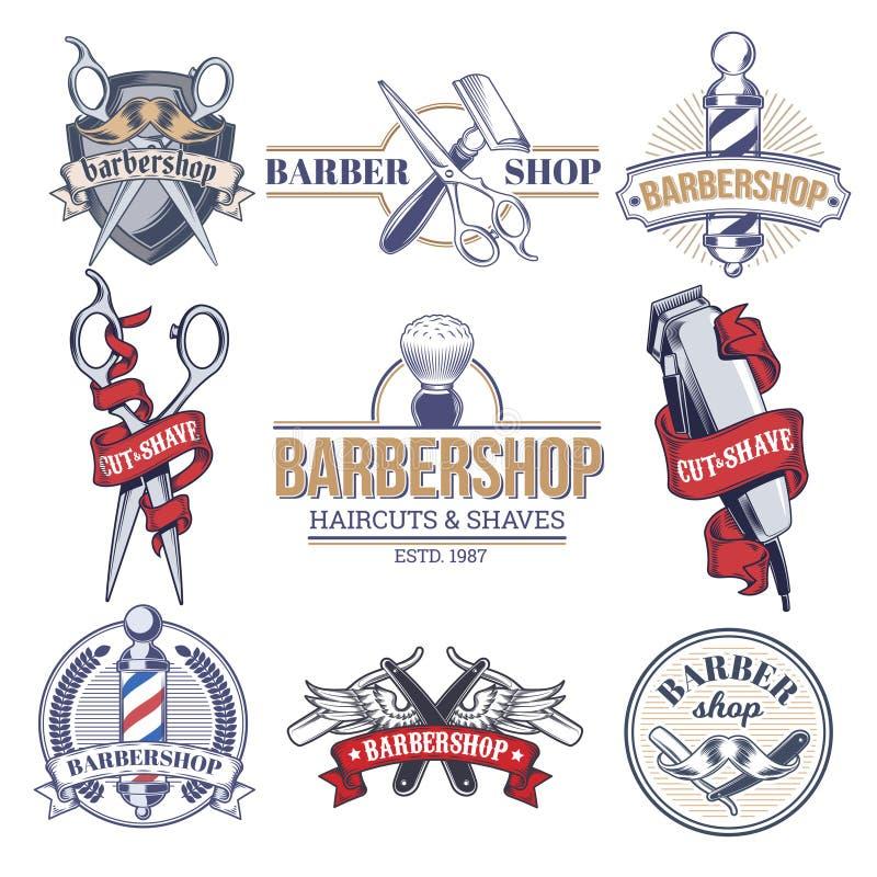 Inkasowe odznaki, logowie z zakładem fryzjerskim ilustracja wektor