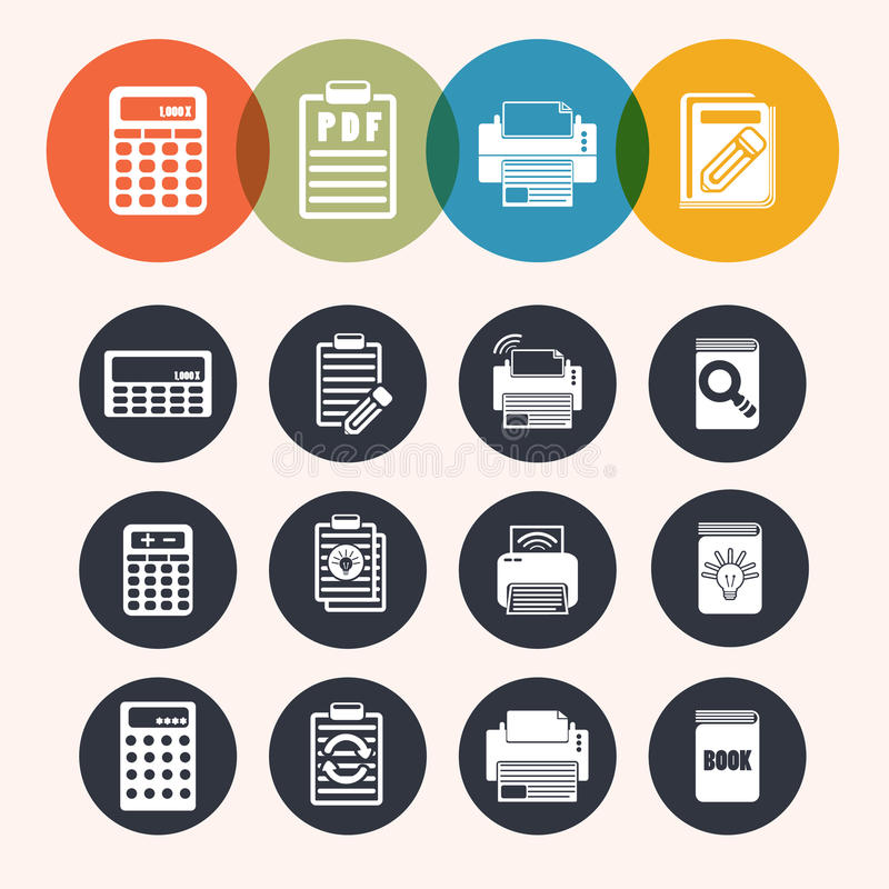 Inkasowe okrąg serii ikony, kalkulator, notepad, druk, książka royalty ilustracja