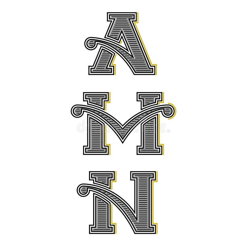 Inkasowi listy A, M, N rocznika monogramy, ustawiają kaligraficznego projekta element dla inicjału logo ilustracja wektor