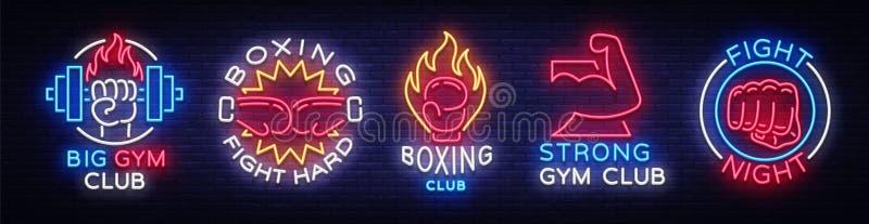 Inkasowi neonowi znaki dla sportów Ustaleni neonowi logów emblematy dla sportów, projekta szablonu symbole Boksuje, sprawność fiz ilustracji