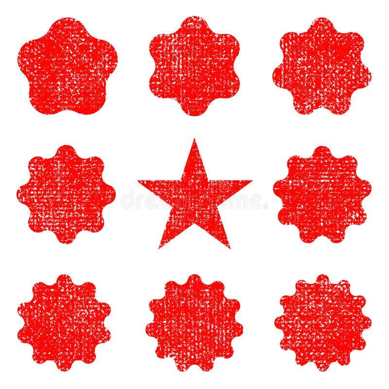 Inkasowi retro gwiazda kształty Rewolucjonistka błyska Roczników postmarks i ilustracji