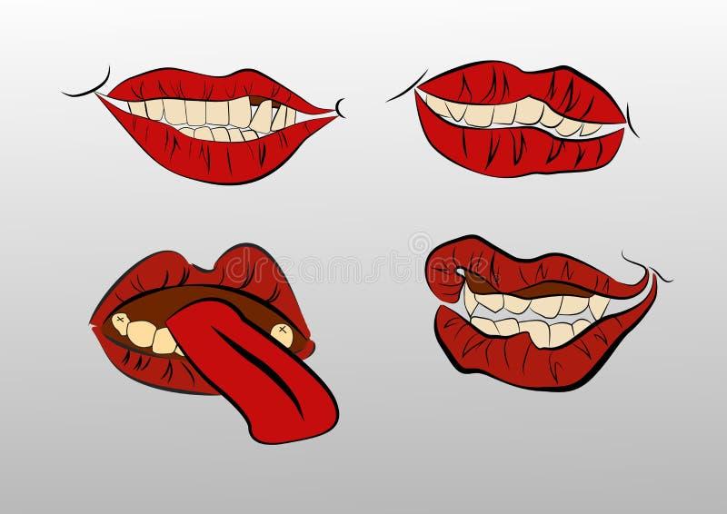 Inkasowi usta z wargami ilustracji