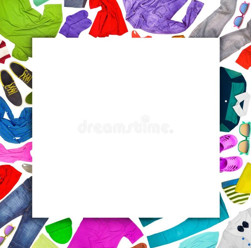 Inkasowy kolaż różnorodna odzież zdjęcia stock