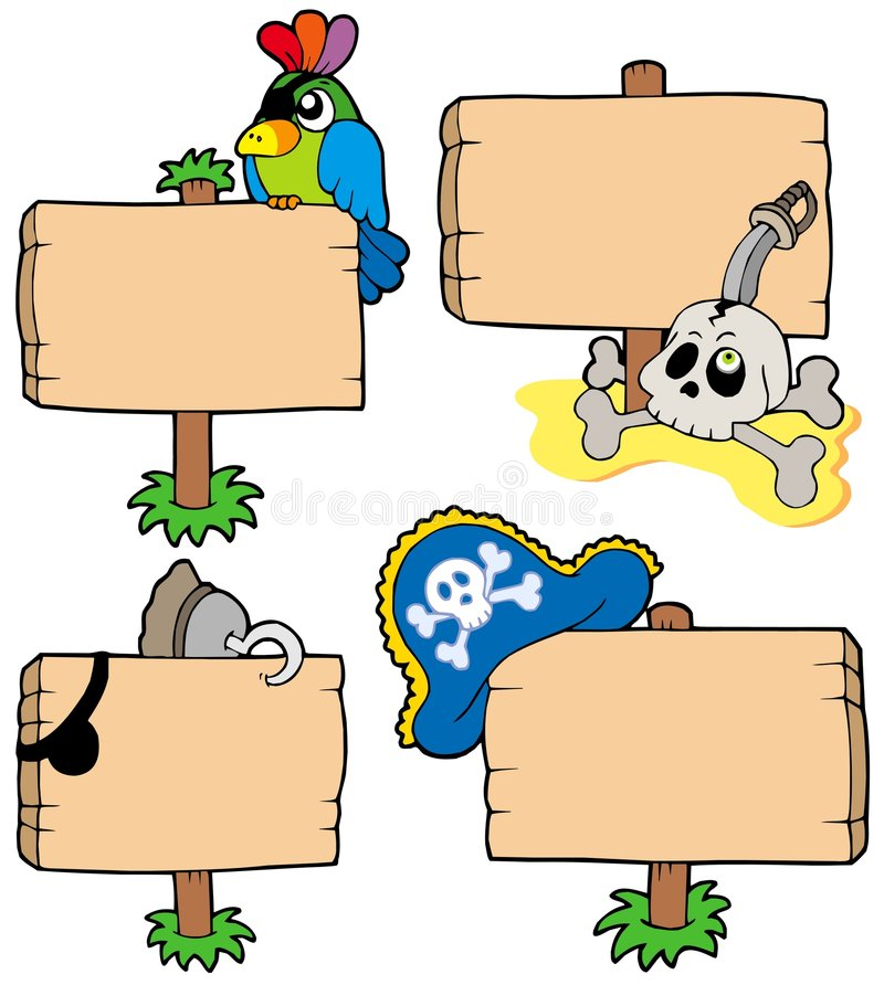 inkasowy pirat podpisuje drewnianego royalty ilustracja