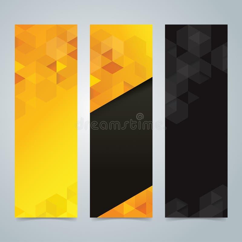 Inkasowy sztandaru projekta, żółtego i czarnego tło, royalty ilustracja