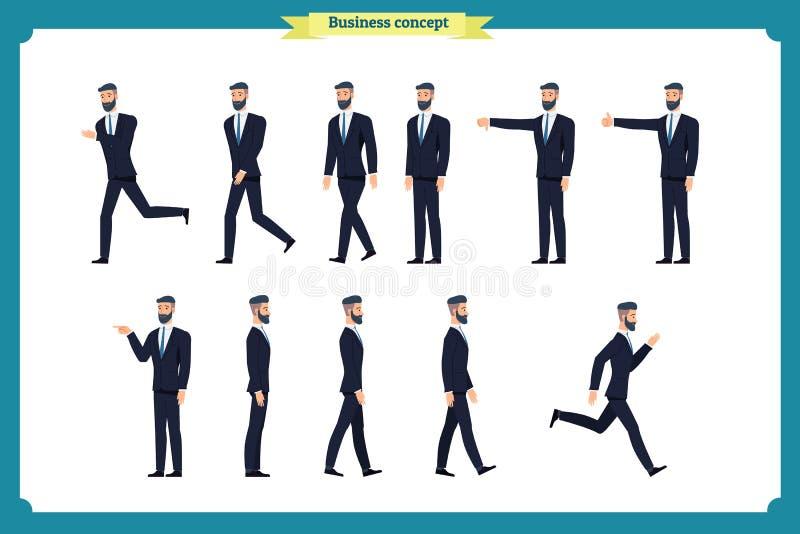 Inkasowy ustawiający odprowadzenie i działający biznesmen Chodzi, biega, aktywny, niechęć, jak Rozmaitość ruchy ilustracja wektor