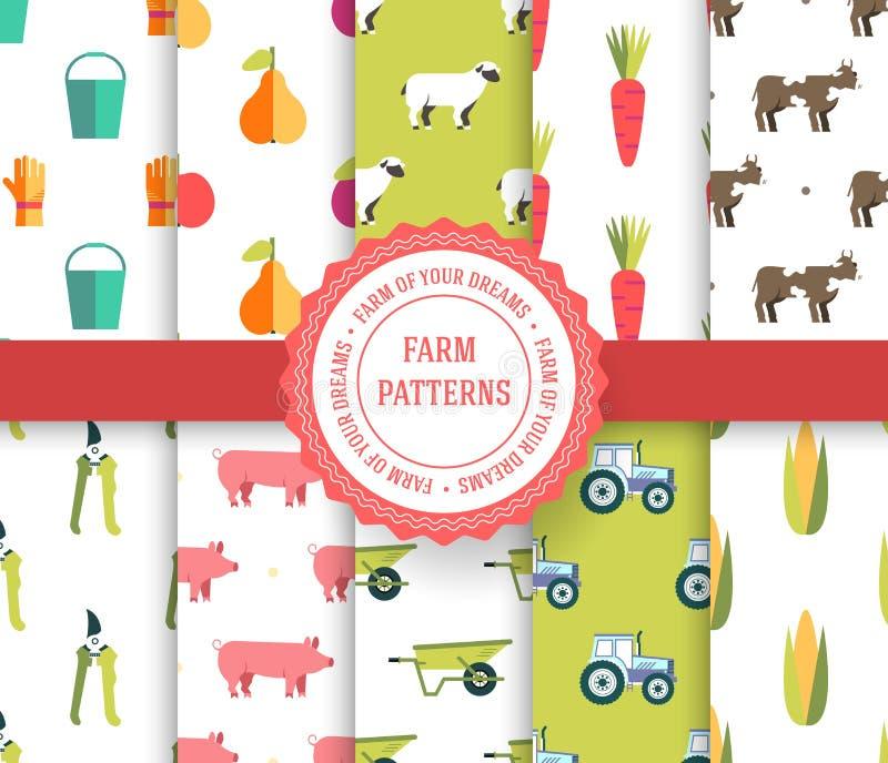 Inkasowy ustawiający rolniczy bezszwowy wzór Gospodarstwo rolne, instrument, owoc, ciągnik, zwierzęta, narzędzia z etykietka logo ilustracja wektor