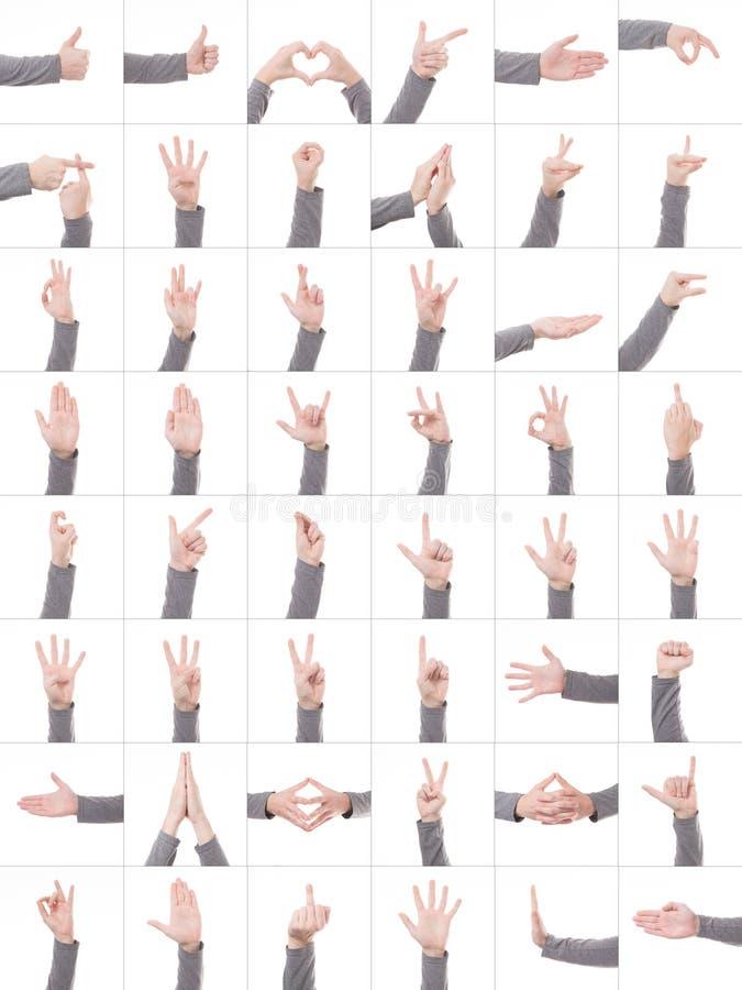 Inkasowy ustawiający wiele różni ręka symbole odizolowywający na białym tle obraz stock