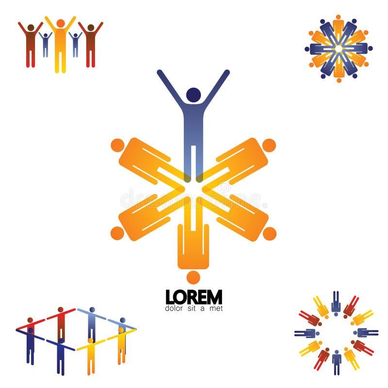 Inkasowy wektorowy ustawiający logo ikony społeczność, biurowy personel, royalty ilustracja