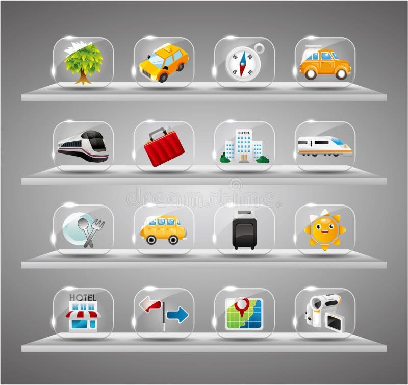 inkasowych ślicznych szklanych ikon przejrzysta podróż ilustracja wektor