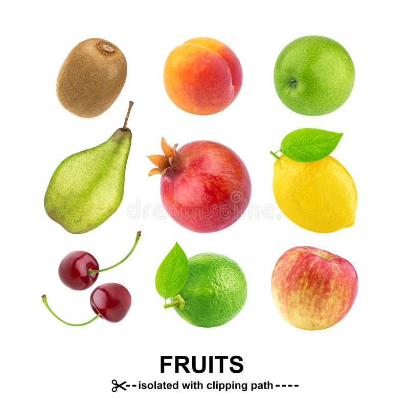inkasowych owoc zdrowa ilustracyjna rozmaitość Różne owoc odizolowywać na białym tle z ścinek ścieżką fotografia stock