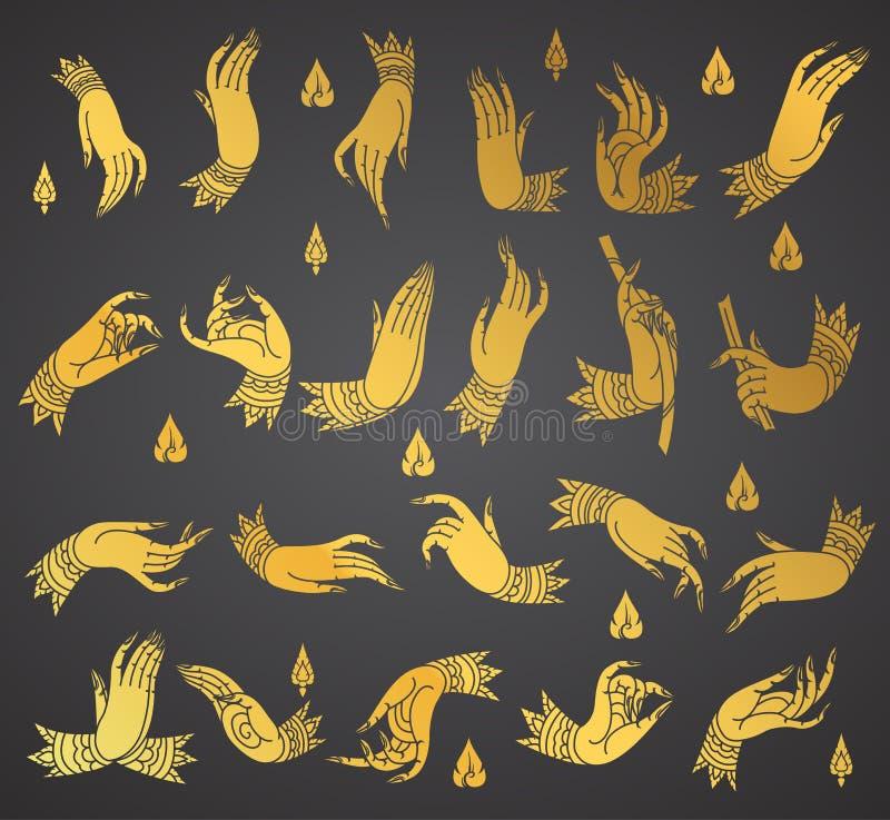 Inkasowych ręk tradyci tajlandzki styl ilustracji