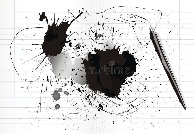 Inkblots and scrawl. In notebook. vector illustration stock illustration