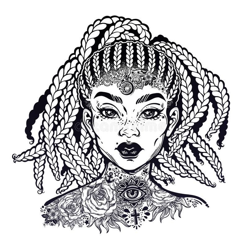 Free Inked African American Pretty Confident Girl. Black Woman Decorative Neck Flash Tattoo. Stock Images - 118389004