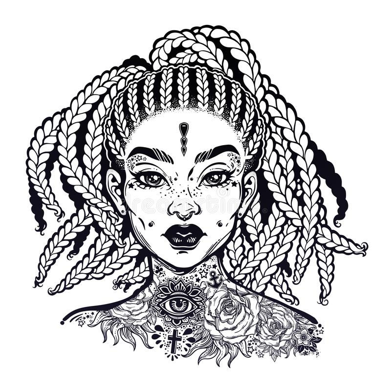 Inked African American pretty confident girl. Black woman decorative neck flash tattoo. Attractive woman portrait with hair made in braided style, beautiful stock illustration