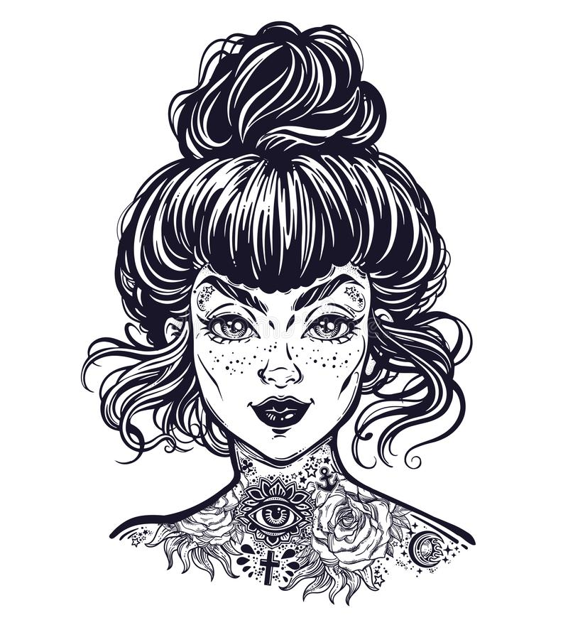 Inked woman portrait with vintage bun hair made, flash tattooed beautiful girl face with freckles. vector illustration