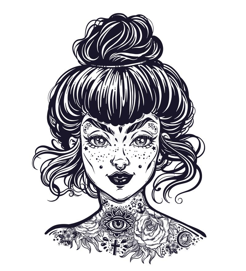 Free Inked Woman Portrait With Vintage Bun Hair Made, Flash Tattooed Beautiful Girl Face With Freckles. Stock Photos - 118389043