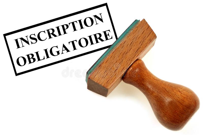 Compulsory registration written in French. Inking stamp indicating compulsory registration written in French royalty free illustration