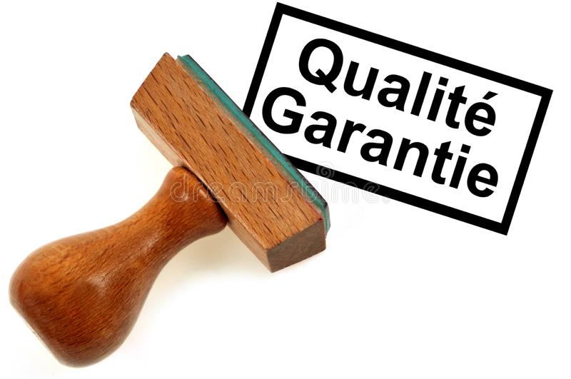 Inking stamp indicating quality guaranteed in French. Text and rubber stamp in wood and rubber on a white background vector illustration
