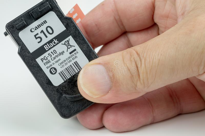 Inkjet cartridge with its protective film on the print head stock photo