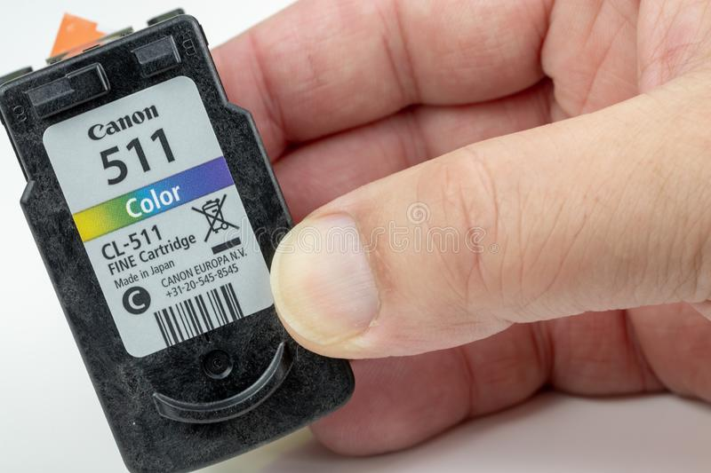 Inkjet cartridge with its protective film on the print head royalty free stock photos