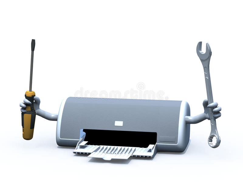 Inkjet printer with arms and tools on hands stock illustration