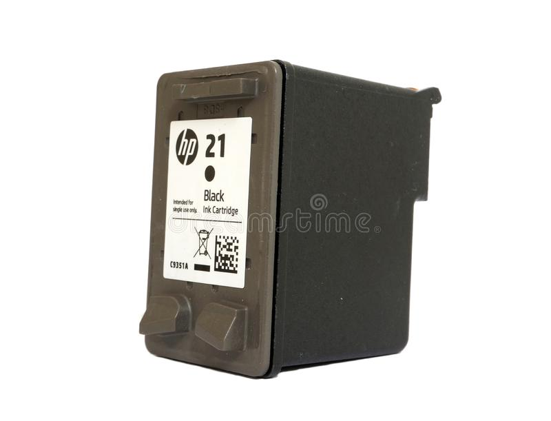 Inkjet printer cartridge, isolated on a white background. royalty free stock image