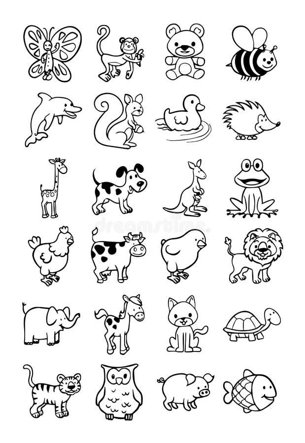 Inklusive vilda djur många gulliga husdjur royaltyfri illustrationer