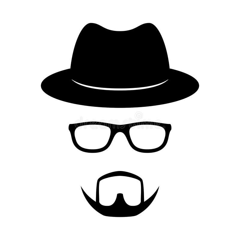 Inkognito symbol Man framsidan med exponeringsglas, skägget och hatten Fotostöttor vektor royaltyfri illustrationer