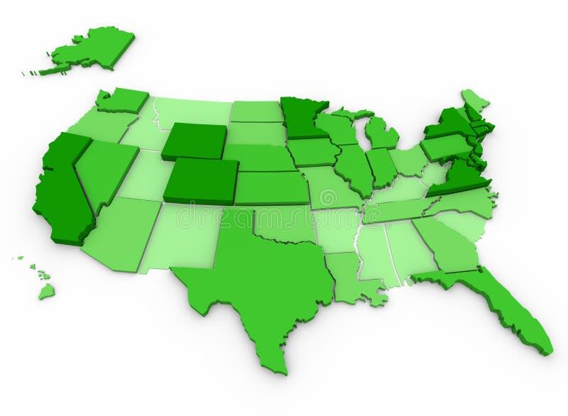 Inkomen per hoofd - de Kaart van Verenigde Staten stock illustratie