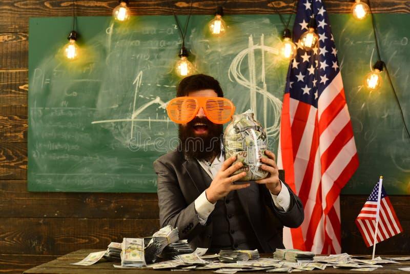 Inkomen planning van het beleid van de begrotingsverhoging Economie en financiën Patriottisme en vrijheid Onafhankelijkheidsdag v stock afbeelding