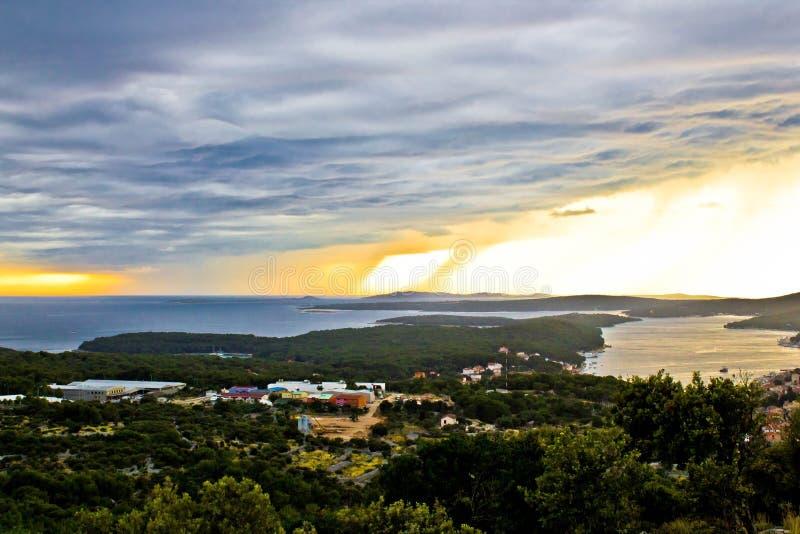 Inkomend onweer over Losinj-eiland stock fotografie